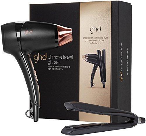 GHD Limited Edition Ultimate Travel Gift Set Platinum Piastra per capelli + Flight Asciugacapelli da viaggio