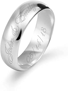 Engravable Sterling Silver Men's & Women's 6mm Ring (ring sizes 5 to 13)