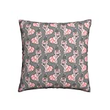Tawetori French Bulldog Pink Skirt Throw Pillow Covers 16