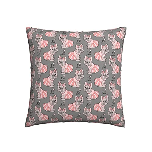 Tawetori French Bulldog Pink Skirt Throw Pillow Covers 16'X16' Decorative Square Pillow Cases for Home Sofa Bedroom Livingroom