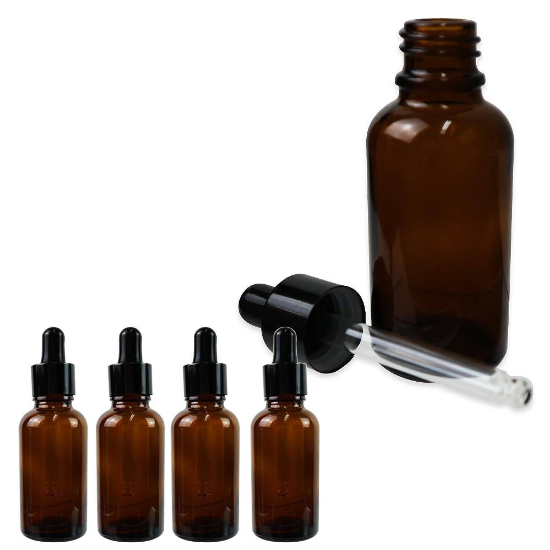 Sagittaire スポイト式 遮光瓶 ガラス製 30ml 5本セット 化粧水 香水 保存 旅行 詰め替え (ブラウン)