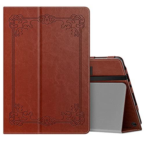 MoKo Funda Compatible con Nueva Fire HD 10 y 10 Plus Tableta (11ª Generación, Versión 2021), Delgada Cubierta con Soporte Plegable Smart Cover Case con Auto Reposo/Estela, Estilo Vintage