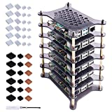 GeeekPi 6-Layers Raspberry Pi Cluster Case,Raspberry Pi Rack Case with Raspberry Pi Heatsinks Stackable Case Stack Enclosure for Raspberry Pi 4/3/2 Model B,Raspberry Pi 3 Model B+ (Brown)