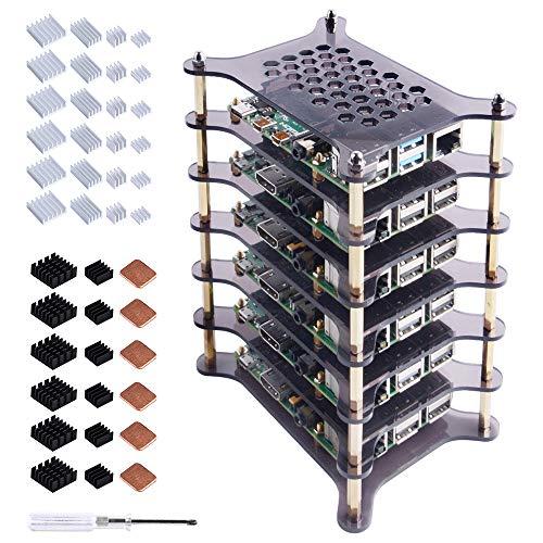 GeeekPi 6 Layers Pi Rack Case for Raspberry Pi 4 Model B/Raspberry Pi 3 B+, Acrylic Case Stackable Case Cluster Case for Raspberry Pi 3/2 Model B (Brown)