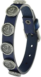 BRLTime Brand Genuine Leather Cuff Male Wristband Copper Alloy Rivet Skull Bangles Belt Buckle Jewelry Unisex Vintage Nazi Tank Symbol Bracelets