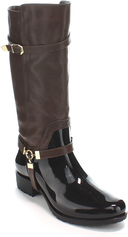 Forever Clara-25 Womens Fashion Two Tone Knee High Motorcycle Rain Boots,Dark Brown,6