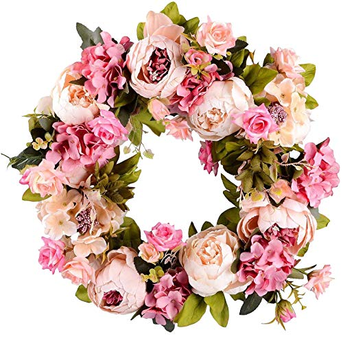 Janly Clearance Sale Artificial Peony Wreath Door Wreath Spring Wreath Round Wreath Home Decoration , Home Decor forHome & Garden , Easter St Patrick's Day Deal