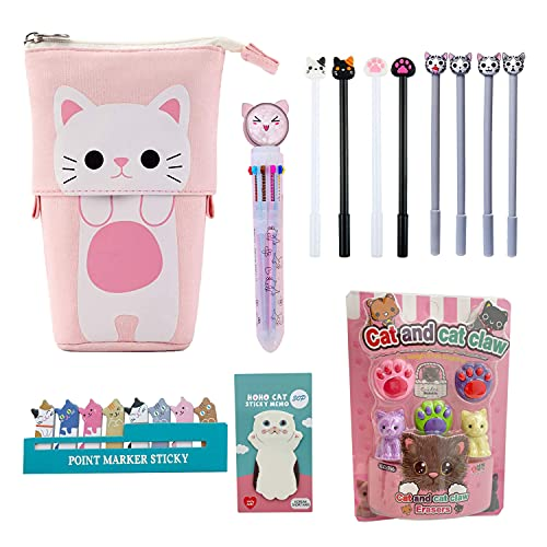 Kawaii Cute Stationary Set Pop Up Pencil Case,8 x Cat Pens,10-in-1...