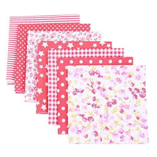 jieGorge 7PCS Cotton Craft Fabric Bundle Patchwork Squares Quilting Sewing Patchwork DIY, Home DIY for Easter Day (Red)