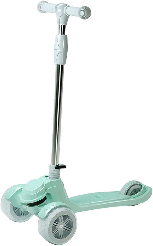 DUWEN-Kick Scooter Kinderroller mit 3 Rdern, Einzelfu mit PU-Blinkrdern, Tretauto, Schleppstange, hhenverstellbar, zum Lenken von Kindern, Faltbarer Roller (Farbe   Grün)