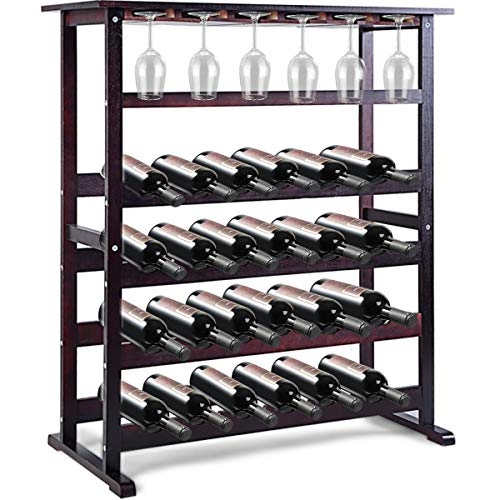 Goplus Portabottiglie Cantinetta Scaffale per Vino Portavino in Legno da 24 Bottiglie 80x41x90,5cm