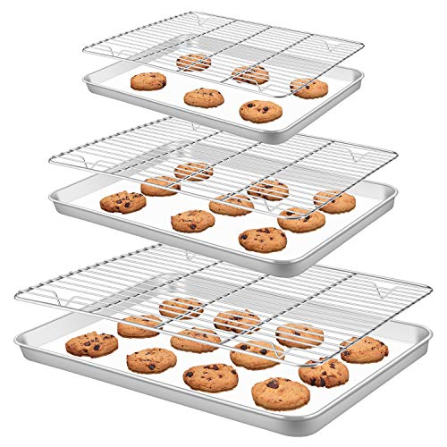 Baking Sheet Pan [3 Sheets + 3 Racks], Heavy Duty Warp Resistant Stainless Steel Cookie Sheet Baking Pan Tray with Cooling Rack Non-toxic, Easy Clean, Dishwasher Safe