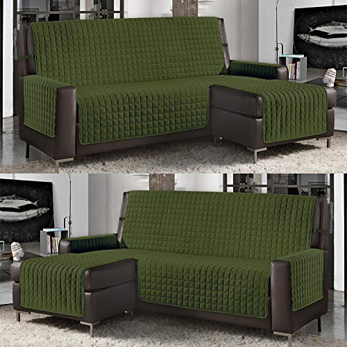 Banzaii Funda de Sofá Cubre Chaise Longue Acolchada Lisa 3 Plazas (240 cm) con Chaise Longue Izquierda/Derecha Verde Militar