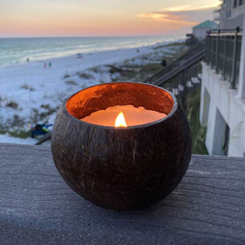 Coconut Bowl Candle with Wooden Wick - Palm Wax, Eco-Friendly, Tropical Beach and Ocean Decor (Vanilla Scent)