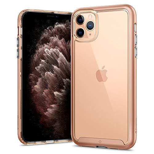 Hülleology Skyfall Kompatibel mit iPhone 11 Pro Max Hülle, Transparent PC Rückschale Gold Bumper Hülle, iPhone 11 Pro Max Hülle (Champagne Gold)