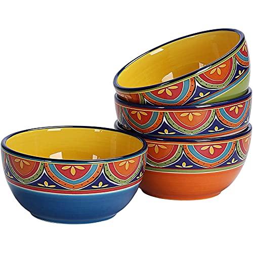 HLONGG Tunisian 26Oz Ceramic Cereal Bowls Set of 4, for Pasta, Salad, Cereal, Soup & Microwave & Dishwasher Safe,4Pcs,4pcs