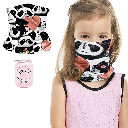 Kids Bandanas Face Mask Earloop Neck Gaiters for Boys Girls with Silicon Pouch Outdoor Balaclava (Panda_Hearted Pattern, S)
