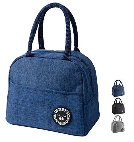 NHHEO Piccola Borsa Termica,Porta Pranzo,Borsa Frigo,Lunch Bag,Borse da Picnic Pranzo per Escursionismo,Picnic All aperto,Barbecue,Lavoro,Pranzo(Blue)