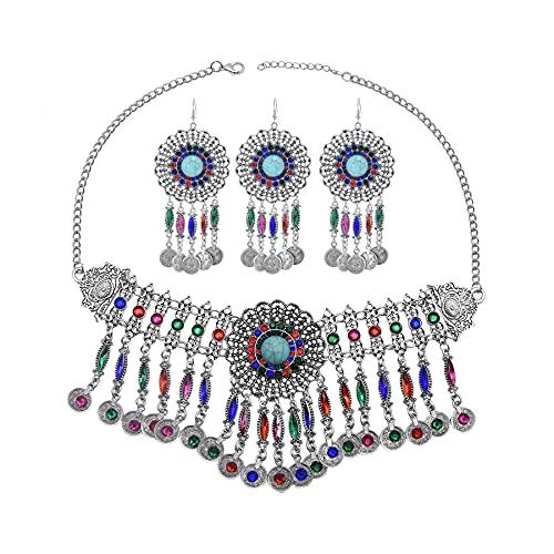 xiangwang Gargantilla de la India turca con diseño de moneda, collar y pendientes de diamantes de imitación, juego de joyería gitana bohemia (color metálico: color amarillo claro)