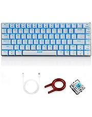 FELiCON Ajazz AK33 USB-backlit bedraad mechanisch gamingtoetsenbord, 82 toetsen compact mechanisch verlicht gamingtoetsenbord blauwzwarte schakelaars voor kantoor, typisten en spelletjes spelen