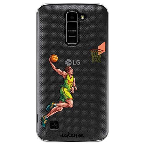 dakanna Funda para LG K10 4G   Jugador de Baloncesto   Carcasa de Gel Silicona Flexible   Fondo Transparente