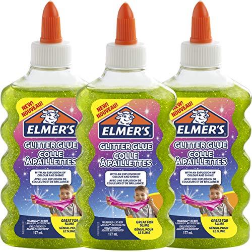 Elmer's colle PVA pailletée | Vert | 177 ml | Lavable | Idéale pour fabriquer du slime | 3 unités