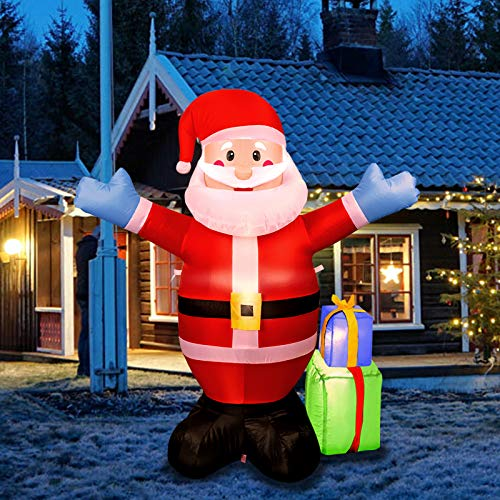 WOMIR 5FT Christmas Inflatable Santa Claus Carrying Gift Decoration, Blow Up Santa for Outdoor Yard Christmas Decoration (Red Santa)