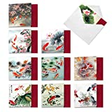 Assorted Boxed of 10 All Occasions Blank Note Cards 4 x 5.12 inch On Goldfish Pond w/ Envelopes - Calm Images of Pretty Colored Koi Fish and Water Lily - Assortment Box of Notecards MQ4944OCB-B1x10