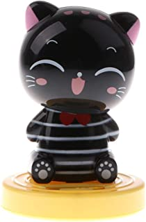 KODORIA Solar Powered Dancing Toy Noding Head Cat Kitten Animal Figure Model Dancing Toy Home Car Decor