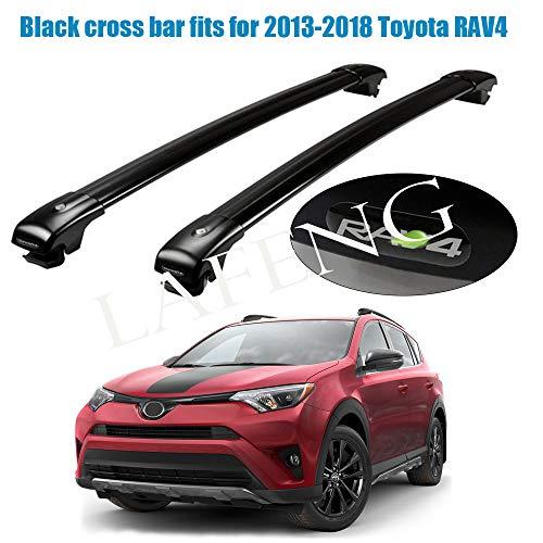 LAFENG Barra Transversal Negra para Toyota RAV4 2013-2018, 2 Unidades, de aleación de Aluminio, portaequipajes de Techo