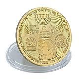 Chapado en oro Donald Trump King Cyrus templo judío Jerusalén Israel monedas conmemorativas coleccionables accesorios de decoración del hogar