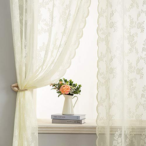 Semi Sheer Lace Curtains 84 Inches Long for Bedroom, Embroidered Floral Tulle European Vintage Style, Grommet, 2 Panel Sets, Beige