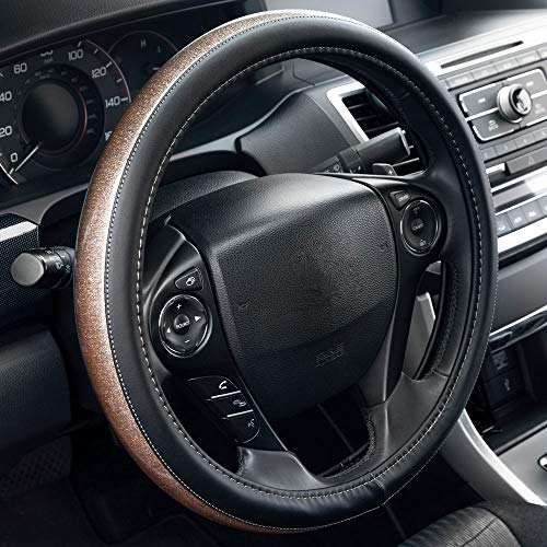 BDK SW-841 Glittery Gold Fresh Glitter Steering Wheel Cover Glossy Finish Universal Fit for Car Auto (Sedan SUV Truck Minivan)