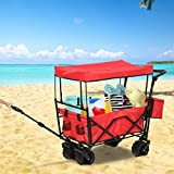 Outdoor Wagon Stroller Cart Collapsible Push Pull Trolley Beach W Top Canopy YJYDD (Color : Red)