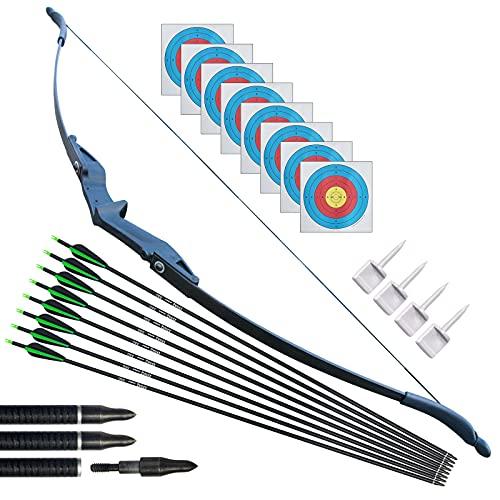 Tir à l'arc Takedown Arc Classique et Ensemble de flèches pour Adultes débutant Main Droite Chasse Long Bow Kit pour la Pratique d'entraînement au tir en Plein air