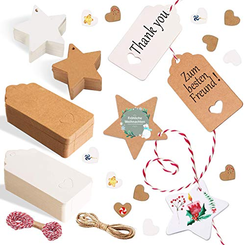 Alintor 200 Stern Geschenkanhänger Kraftpapier, Weihnachten Kraftpapier mit Herz, Etiketten für Namenskarten Hochzeit Geburtstag Grußkarten DIY Tags Hochzeit Geschenke zum Basteln Valentinstag