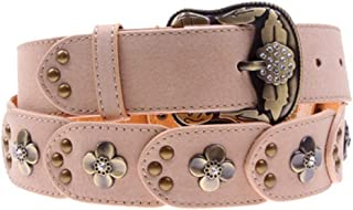 LUKEEXIN Women Belt Korean Crystal Rivet Retro Belt Women's Crystal Leather Belt (Color : Pink)