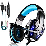 Auriculares Gaming PS4,Cascos Gaming de Mac Estéreo con Micrófono Cascos Gaming 3.5mm Jack con Luz LED Bass Surround y Cancelación de Ruido Auriculares Compatible con PC/Xbox One/Switch
