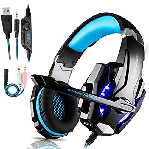 FUNINGEEK Gaming Headset für PS4 PC Xbox One, Professional Kopfhörer mit Mikrofon für Laptop/Mac/Tablet/Smartphone mit LED Licht 3.5mm Surround Sound Noise Cancelling (Blau)