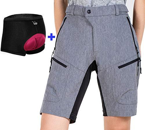 Cycorld MTB Shorts Damen MTB Hose, Atmungsaktiv Radhose Damen Outdoor Bike Shorts mit Verstellbaren Klettverschlüssen (Grey with Pad, L)