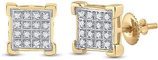 FB JEWELS 10kt الذهب الأصفر رجل جولة الماس مربع العنقودية أقراط 1/10 Cttw