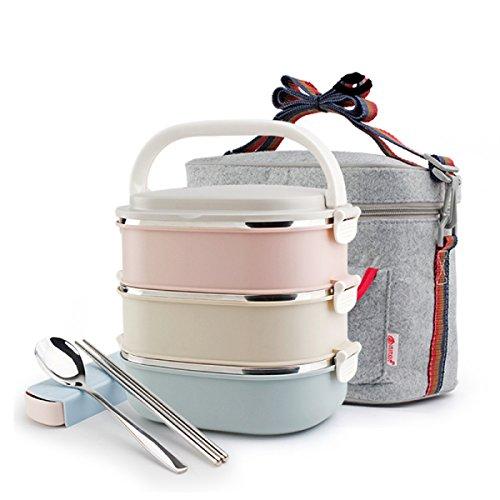 Fiambreras Caja de almuerzo cuadrada del acero inoxidable, bolso del envase de la cerradura, cuchara y palillos del sistema del calor/Porta alimentos