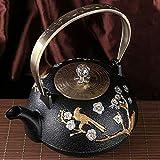 Tetera Teapot Tea Kettle Tetera de té 1.2L tetera de hierro fundido japonés tetera de hierro fundido para mantener el té...