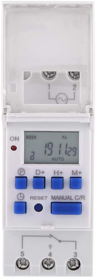 Akozon Temporizador Digital Carril DIN Digital Temporizador Programable Digital con Pantalla Interruptor Programador horario LCD Temporizador de Tiempo de Retransmisión Programable(12V)