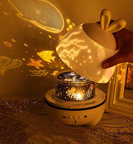 Proyector de estrellas luz nocturna para bebé, proyector de música giratorio, cable USB, luz cálida, el mejor regalo para niños, dormitorio, noche, decoración, fiesta