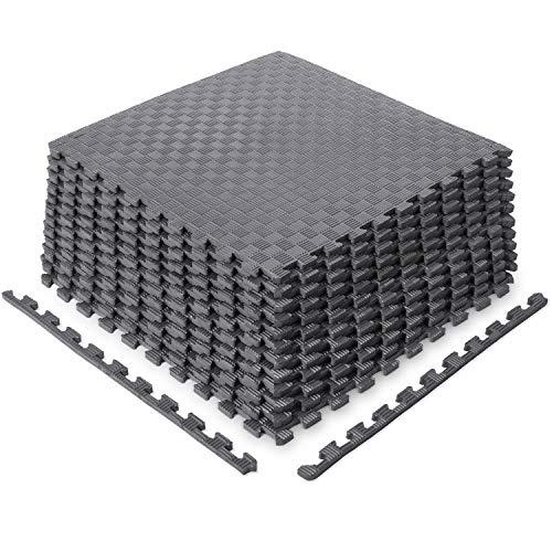 Sportneer Puzzle Exercise Mat with 12 Tiles Interlocking Foam Gym Mats, 22.4'' x 22.4'' EVA Foam Floor Tiles, Protective Flooring Mats Interlocking for Gym Equipment