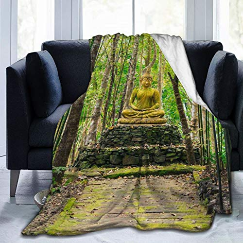 Buddha Statue in Bamboo Forest Sherpa Throw Blanket Super Soft Lightweight Microfiber Flannel Blanket Cozy and Warm for Bed Sofa Chair Car Camping