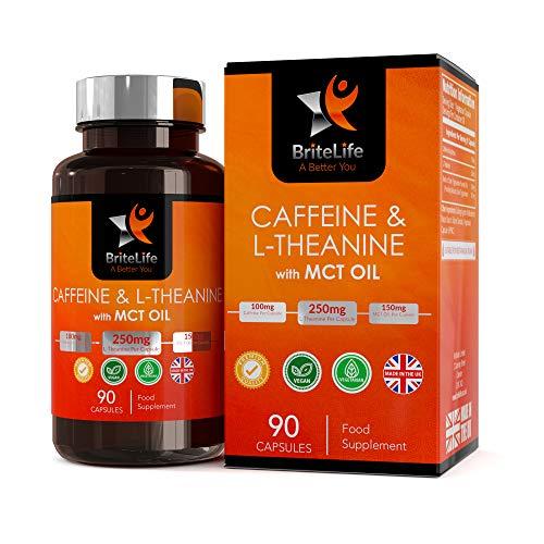 Integratori caffeina e L-teanina + olio MCT di BriteLife | 90 Capsule vegane | Promuove il keto-adattamento e fornisce energia per tutto il giorno | Lucida attenzione e concentrazione