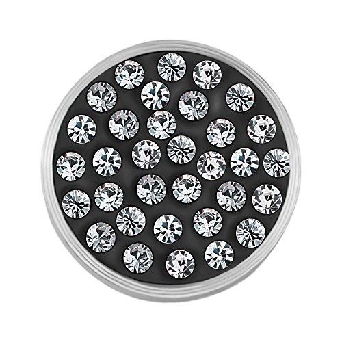 Quiges Edelstahl Austauschbare Mini Coin 12mm Wechselstein Grau mit Weiß Zirkonia für Ringe-Ohrringe-Anhänger-Armband Halter