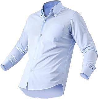 [Amazon限定ブランド] ワイシャツ 長袖 形態安定 ノンアイロン ストレッチ シャツ メンズ ビジネス Yシャツ ボタンダウン 無地 ストライプ 白 ブルー グレー ネイビー Duerfusa